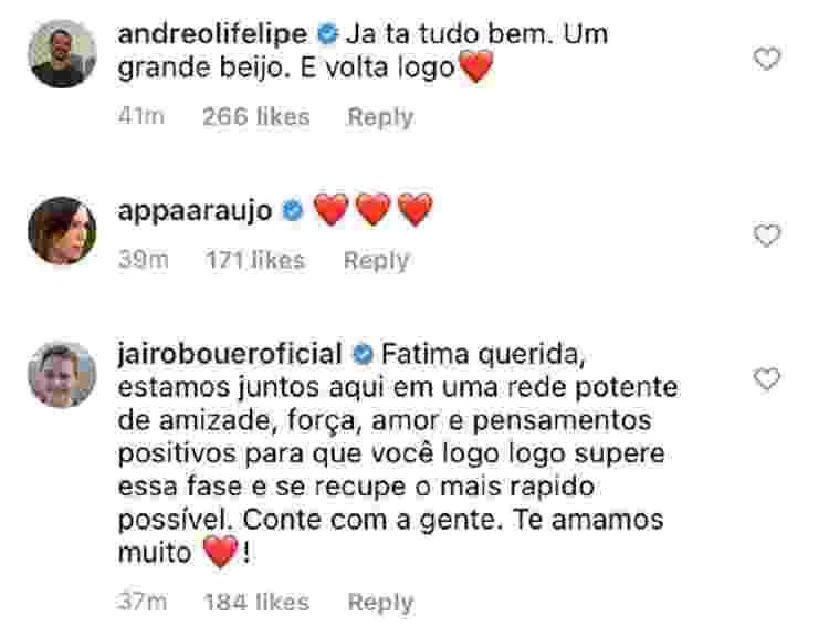 Fátima Bernardes está com câncer; Famosos comentam (3) - Reprodução/Instagram - Reprodução/Instagram