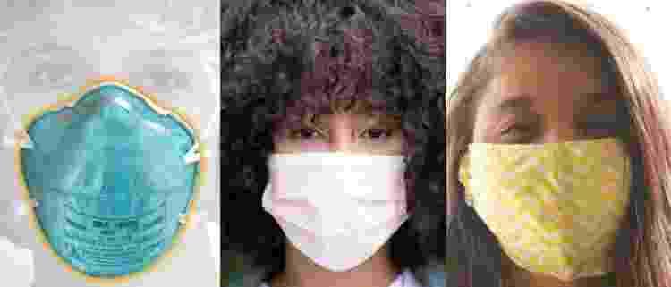 Máscaras, respectivamente, N95/PFF2, cirúrgica e de pano/tecido - Divulgação 3M/Nappy/Unsplash - Divulgação 3M/Nappy/Unsplash