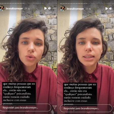 Bruna Linzmeyer relata lesbofobia em consultório de psicanalista - Reprodução/Instagram