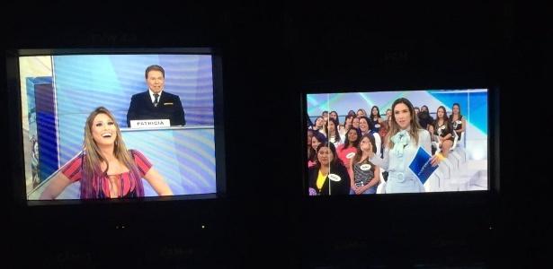 """03.mai.2016 - Silvio Santos troca de lugar com a filha no """"Jogo dos Pontinhos"""" - Reprodução/Twitter/PgmSilvioSantos"""