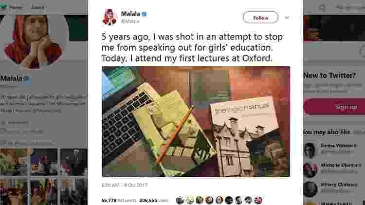 Post da Malala - Reprodução/Twitter - Reprodução/Twitter