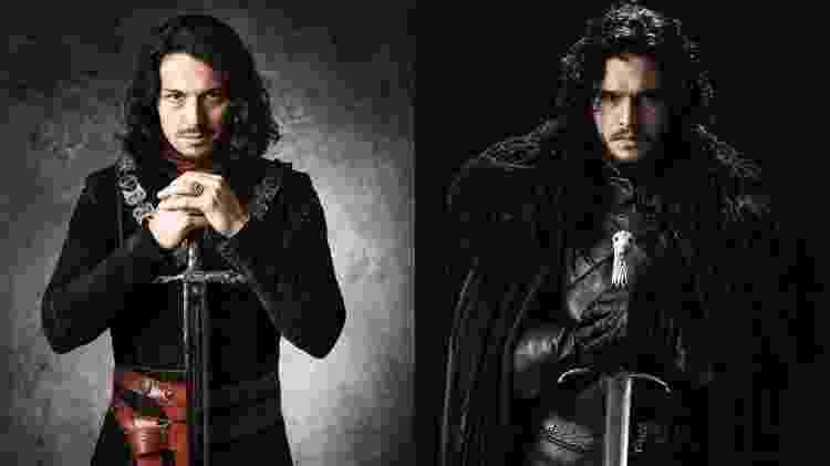 "Afonso (Rômulo Estrela), de ""Deus Salve o Rei'; Jon Snow (Kit Harrington), de ""Game of Thrones"" - Fotos de divulgação - Fotos de divulgação"