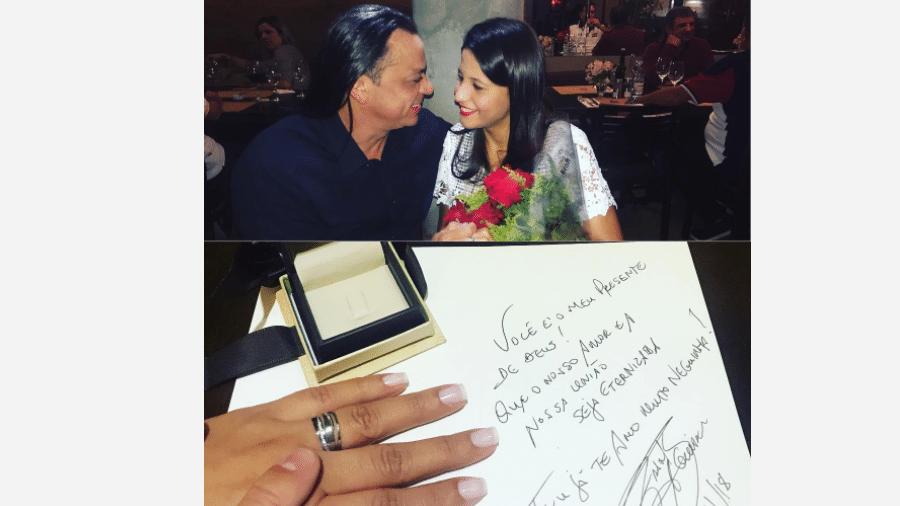 Frank Aguiar e a nova namorada, Caroline Santos - Reprodução/Instagram