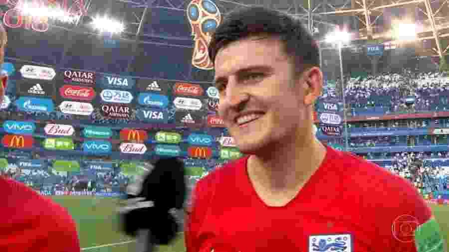 Harry Maguire sendo entrevistado após o jogo da Inglaterra contra Suécia; tradução simultânea falhou - Reprodução/Globo