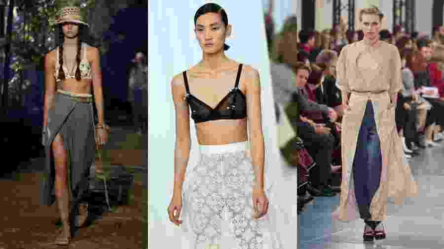 Da esq. para dir.: sutiã como top ou acessório apareceu nos desfiles da Dior, Loewe e Chloé - Getty Images/AFP