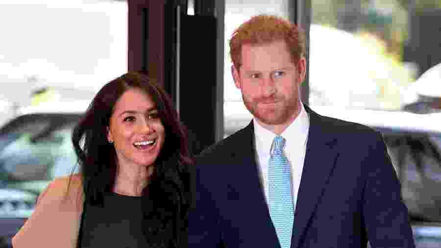 Harry e Meghhan durante o WellChild Awards, evento da coroa que premia crianças com doenças graves - Getty Images