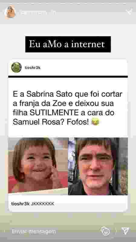 Meme compartilhado por Sabrina Sato nas redes sociais - Reprodução/Instagram - Reprodução/Instagram