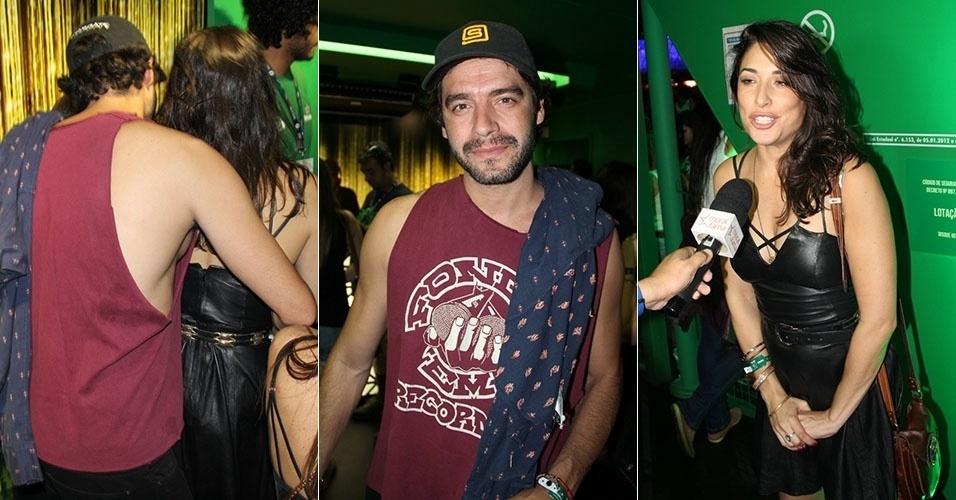 """26.set.2015 - Guilherme Winter abraça Giselle Itié em camarote do Rock in Rio. Os dois atores de """"Dez Mandamentos"""" foram vistos aos beijos"""