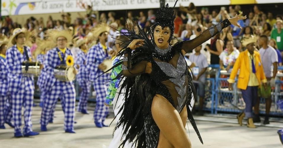 13.fev.2016 - A rainha de bateria Juliana Alves durante o Desfile das Campeãs da Unidos da Tijuca