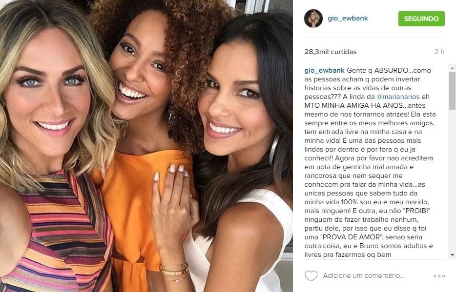 Giovanna Ewbank publica foto com Sheron Menezzes e Mariana Rios e rebate polêmica