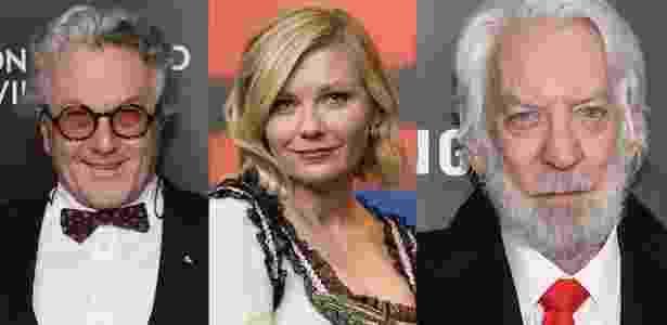 George Miller, Kirsten Dunst e Donald Sutherland, que estarão no júri de Cannes - Getty Images/Montagem