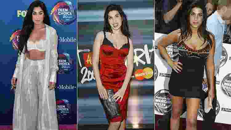 Lauren Jauregui no Teen Choice Awards e Amy Winehouse em 2004 - Getty Images - Getty Images