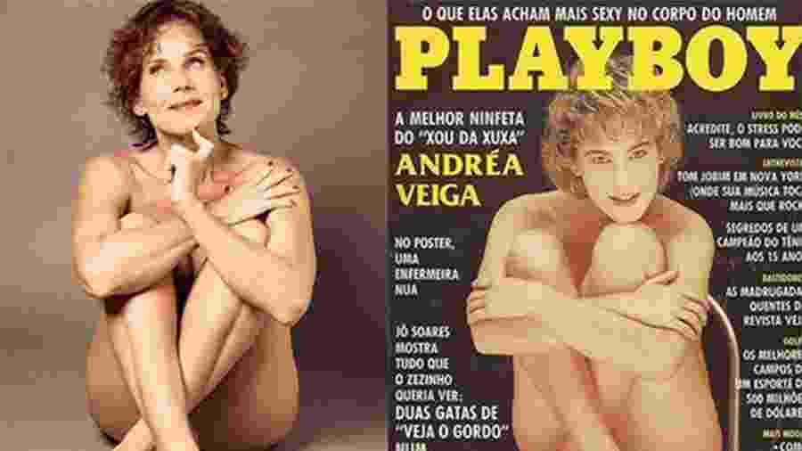 """Andréa Veiga imita pose de capa da """"Playboy"""" de 1988 - Reprodução/Instagram"""