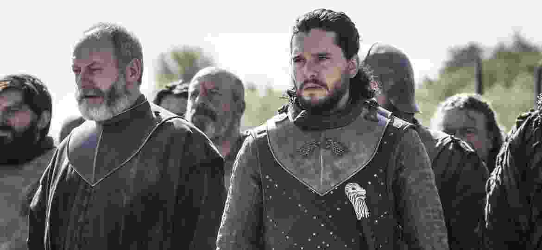 """Jon Snow (Kit Harington) e Davos Seaworth (Liam Cunningham) em cena de """"Game of Thrones"""" - Divulgação/HBO"""