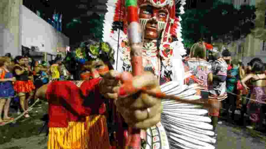 Hannah cacique indígena, da etnia potiguar, convidada para o bloco do Cacique de Ramos - Marcelo de Jesus/UOL