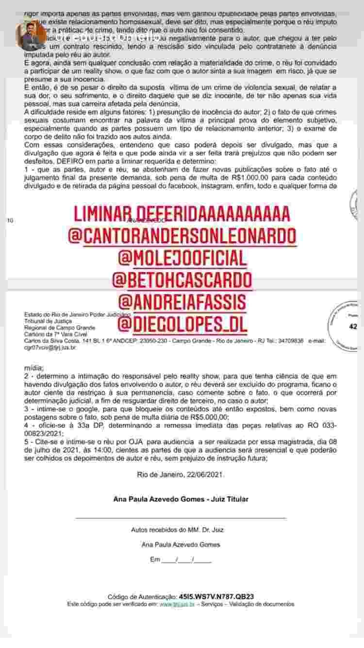 Anderson Leonardo compartilhou trecho da liminar - Reprodução/Instagram @cantorandersonleonardo - Reprodução/Instagram @cantorandersonleonardo