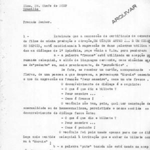"""Carta anexa ao processo de """"Um Uísque Antes... um Cigarro Depois"""", na qual o produtor tenta negociar a liberação das palavras """"puto"""" e """"fresco"""", defendendo que elas não são usadas em um sentido homossexual - Reprodução"""