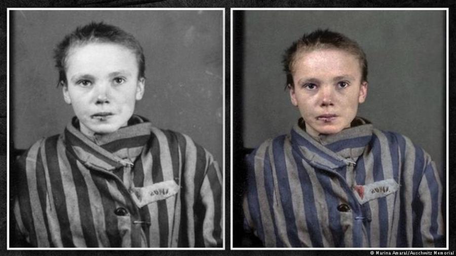Vítima polonesa do holocausto em foto colorida pela artista mineira - Marina Amaral/Arte