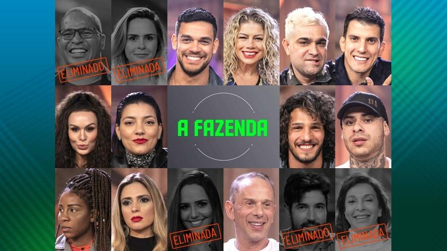 """Participantes que continuam em """"A Fazenda 10"""" após quinta roça  - Montagem"""