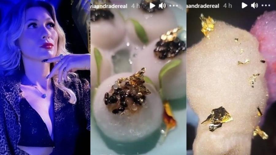 Lívia Andrade experimenta comida com ouro nos EUA - Reprodução Instagram