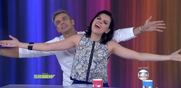 """Monica Iozzi com Otaviano Costa no """"Vídeo Show"""" - Reprodução/TV Globo"""