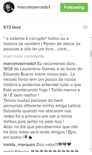 Marcelo Serrado recomendou dois livros para uma seguidora entender melhor sobre a situação atual do Brasil