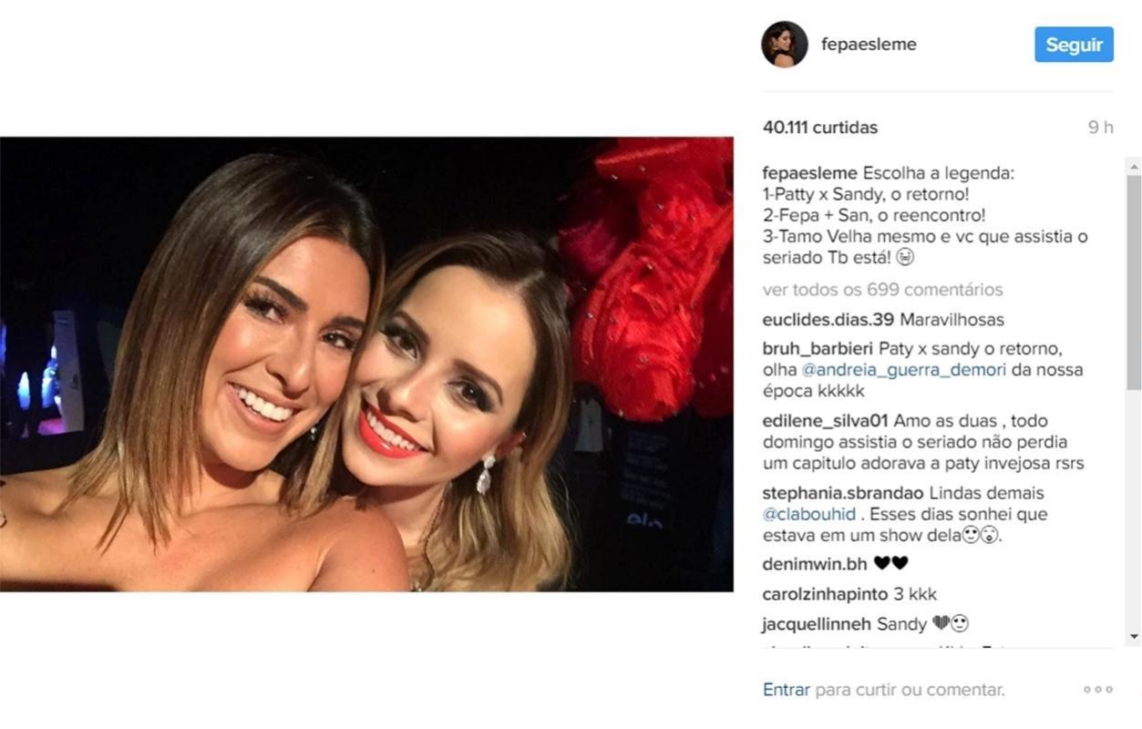 Fernanda Paes Leme posta foto com Sandy