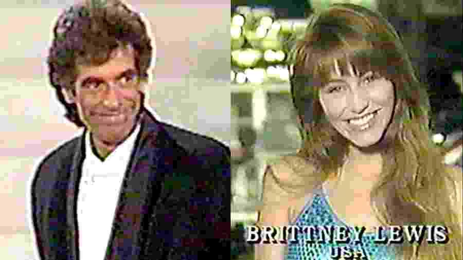 Brittney Lewis e David Copperfield durante o concurso de beleza no Japão em 1988 - Reprodução/The Wrap