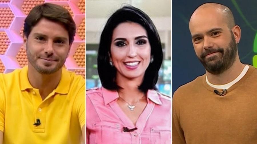Felipe Diniz, Isabela Leite e Lucas Gutierrez: três apresentadores promovidos pela Globo nesta semana - Montagem/UOL/Reprodução/TV Globo/GloboNews