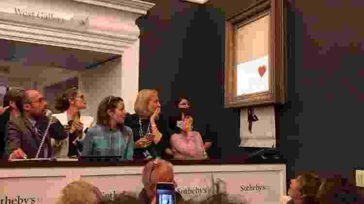 """""""Menina com Balão"""", de Banksy, é triturada após leilão na Sotheby's - Reprodução/Instagram - Reprodução/Instagram"""
