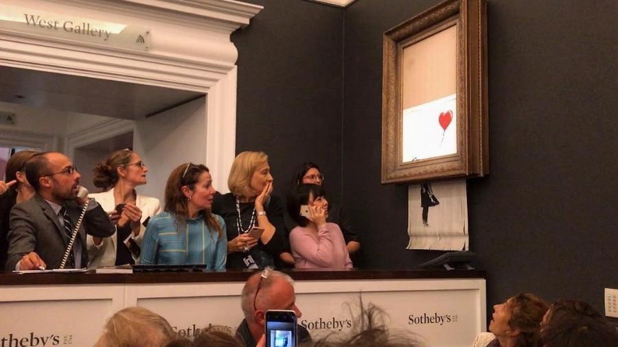"""""""Menina com Balão"""", de Banksy, é triturada após leilão na Sotheby""""s - Reprodução/Instagram"""