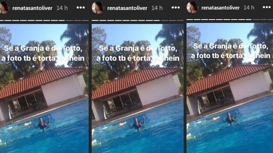 Flagra foi mostrado nas redes sociais de Renata Santoliver  - Reprodução/Jornal Extra