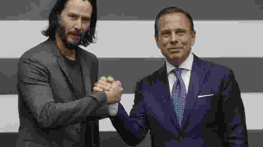 Keanu Reeves com o governador de São Paulo, João Doria - Divulgação/Governo de São Paulo