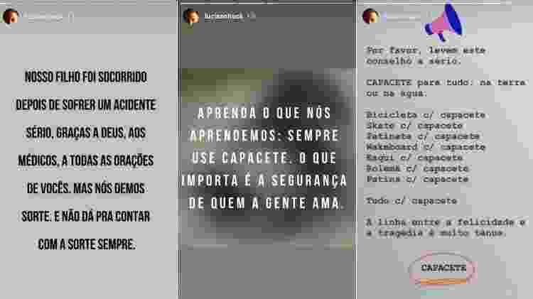 Luciano Huck confessa que o filho estava sem capacete e fala da importância do equipamento de segurança - Instagram/Reprodução