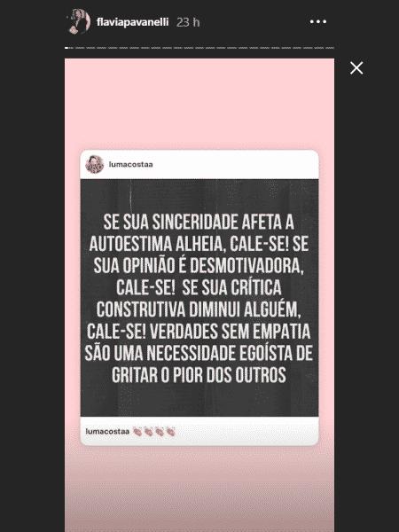 Flavia Pavanelli compartilha texto pedindo mais empatia de seguidores - Reprodução/Instagram