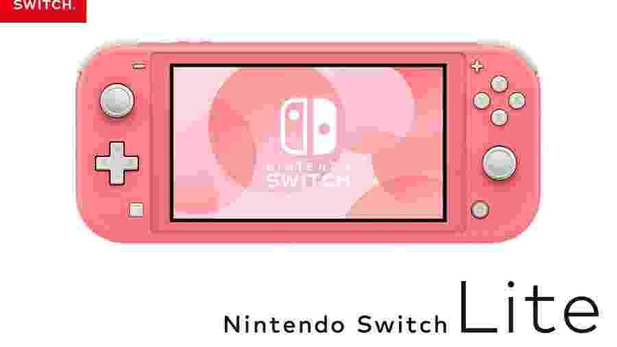Nintendo Switch Lite na versão coral - Divulgação/Nintendo