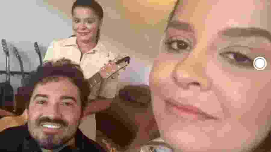 Os sertanejos Maiara, Maraisa e Fernando participaram de live no É de Casa - Reprodução/TV Globo