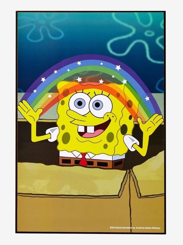 """Bob Esponja em cena sobre """"imaginação"""" e arco-íris"""