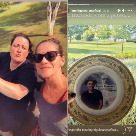 Ingrid Guimarães viajou com Ju Amaral, irmã de Paulo Gustavo, e levou uma lembrança do ator - Reprodução/Instagram