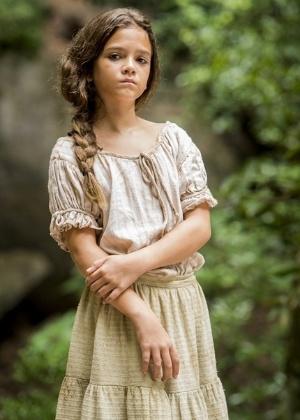 Mel Maia é Joaquina, filha de Tiradentes (Thiago Lacerda) - João Cotta/TV Globo