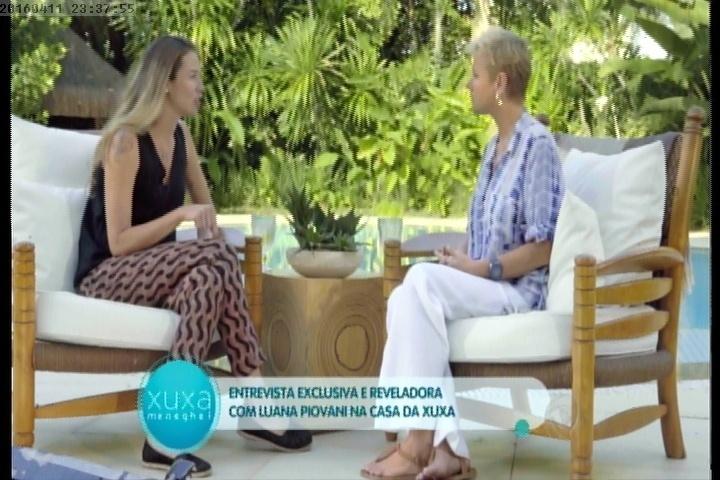 11.abr.2016 - Em entrevista na casa de Xuxa, Luana Piovani fala sobre sua relação com Rodrigo Santoro.