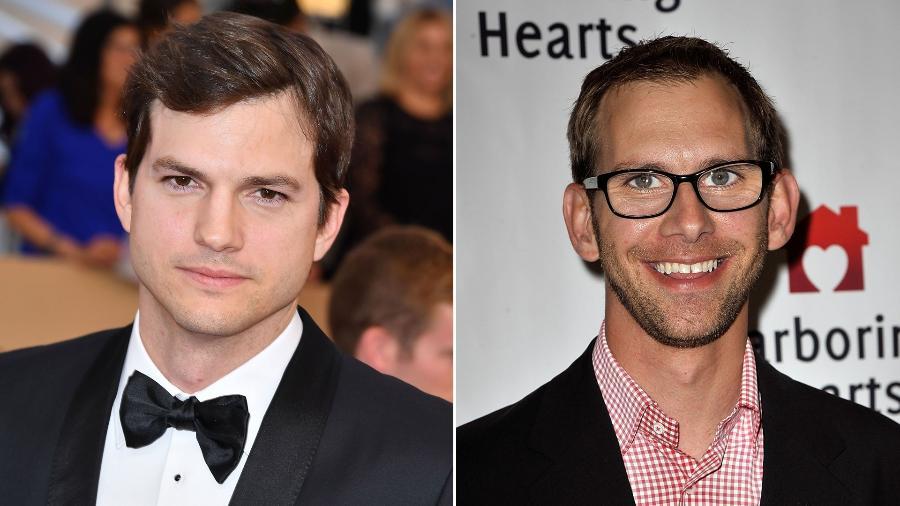 Ashton e o seu irmão gêmeo Michael Kutcher; Michael nasceu com paralisia cerebral - Getty Images