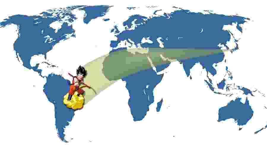 É mais rápido ir de avião, Goku: tempo necessário para cada episódio do desenho ser traduzido e dublado é suficiente para ir e voltar do Japão - Montagem/UOL
