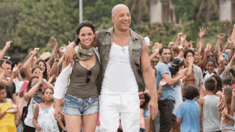 """Vin Diesel e Michelle Rodriguez em cena de """"Velozes & Furiosos 8"""" - Reprodução - Reprodução"""