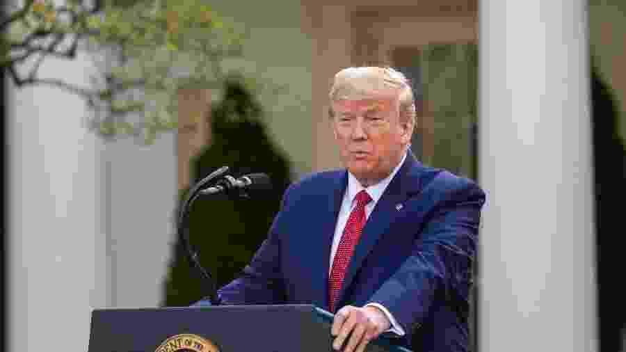 Donald Trump durante entrevista coletiva na tarde de hoje, na Casa Branca - Getty Images