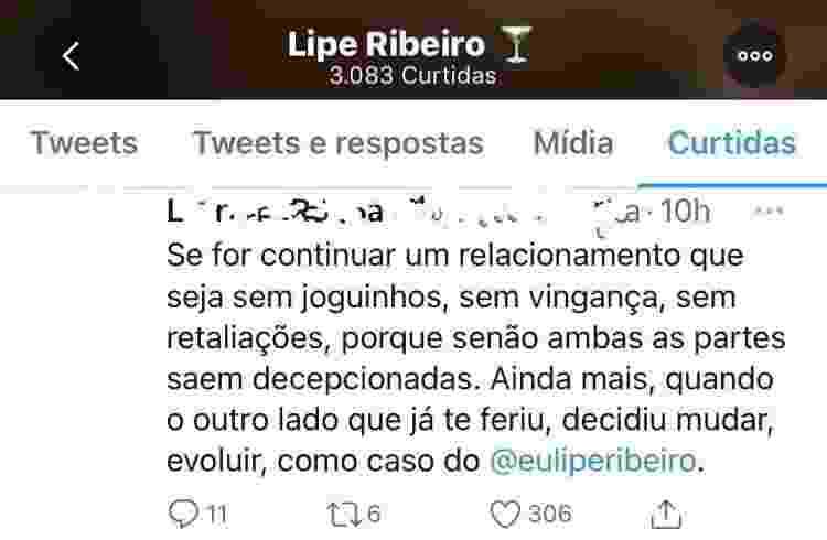 Post curtido por Lipe Ribeiro - Reprodução/Twitter - Reprodução/Twitter