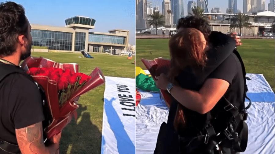 Fernando Zor aproveitou salto de paraquedas com Maiara para fazer pedido de casamento - Reprodução/Instagram