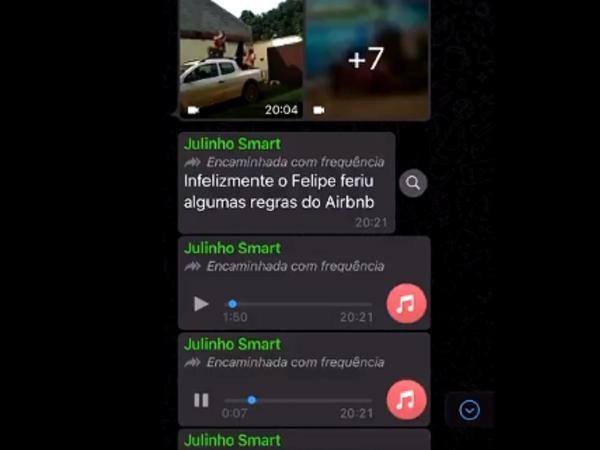 Felipe teria feito suruba em festa alugada no Airbnb na casa de Verônica, segundo áudios que circulam nas redes sociais