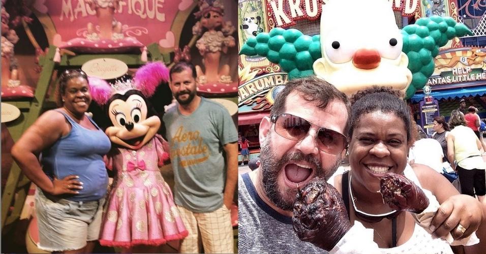 """28.jul.2015 - Cacau Protásio se diverte em lua de mel na Disney (EUA) com o marido Janderson Pires: """"O sonho que sonha junto é realidade"""", escreveu a atriz no Instagram"""