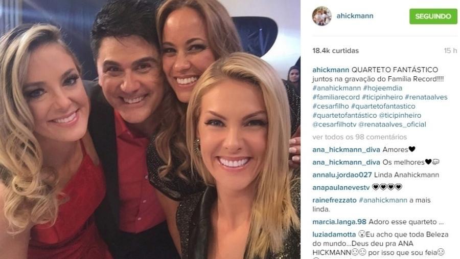 """O quarteto do """"Hoje em Dia"""": Ticiane Pinheiro, Cesar Filho, Renata Alves e Ana Hickmann, em foto do Instagram - Reprodução/Instagram/ahickmann"""